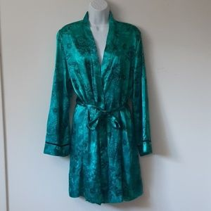 Linea Donatella teal paisley and floral robe L/XL
